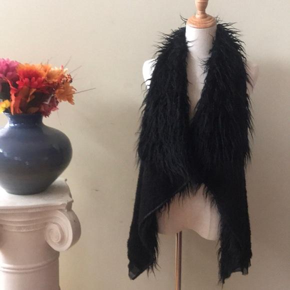 Bohemian Jackets & Blazers - Hippie black faux fur vest Bohemian vest
